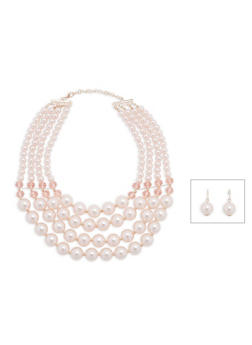 Tiered Faux Pearl Necklace and Earrings - 1123073844398