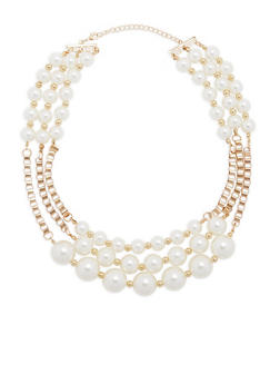 Tiered Chain and Faux Pearl Necklace - 1123073845032