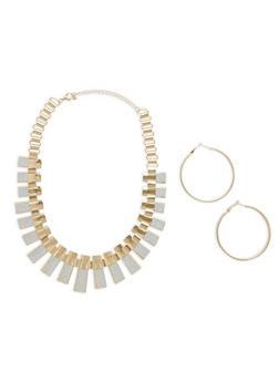 Metallic Glitter Necklace with Hoop Earrings - 1123073846005