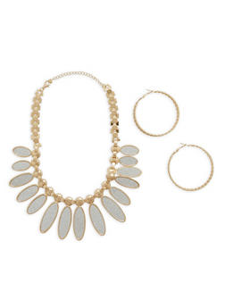 Glitter Leaf Necklace with Textured Hoop Earrings - 1123073846009