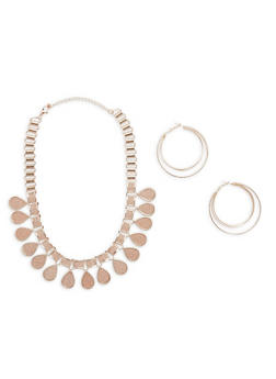 Glitter Tear Drop Necklace with Layered Hoop Earrings - 1123073846013