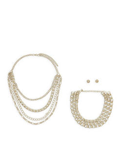 Layered Chain Necklace with Metal Mesh Choker and Stud Earrings - 1123073846028