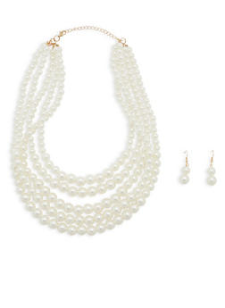 Multi Layer Faux Pearl Necklace with Matching Earrings - 1123074140381