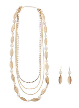 Multi Layered Necklace and Matching Earrings - 1123074140603