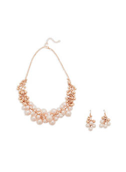 Faux Pearl Clustered Bead Necklace and Earrings - 1123074140627