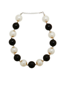 Jumbo Two Tone Faux Pearl Necklace - 1123074140635