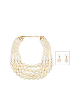 Faux Pearl Necklace with Earrings - 1123074140640