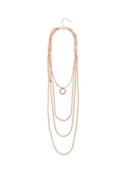 Rhinestone Circle Pendant Layered Necklace - 1123074140686
