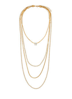 Rhinestone Layered Necklace - 1123074140687