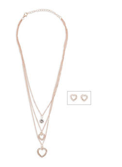 Layered Charm Necklace with Rhinestone Heart Stud Earrings - 1123074143113