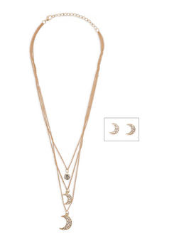 Layered Moon Charm Necklace with Matching Earrings - 1123074143115