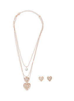 Layered Rhinestone Heart Charm Necklace and Matching Earrings - 1123074148157
