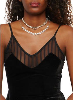 Multi Layer Choker and Drop Necklace with Stud Earrings - 1123074170917