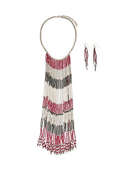 Long Beaded Fringe Necklace and Earrings - 1123074171617