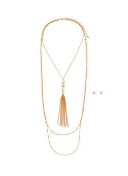 Rhinestone Tassel Layered Necklace and Earrings Set - 1123074171703