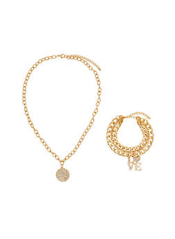 Chain Necklace and Choker Set with Rhinestones - 1123074171706