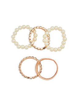 Set of 5 Faux Pearl Rhinestone Stretch Bracelets - 1123074171711