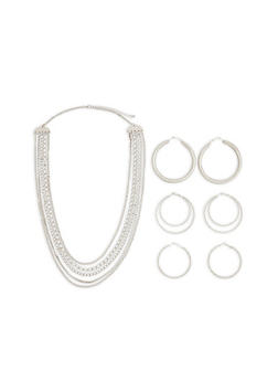 Chain Necklace with Metallic Hoop Earrings - 1123074171713