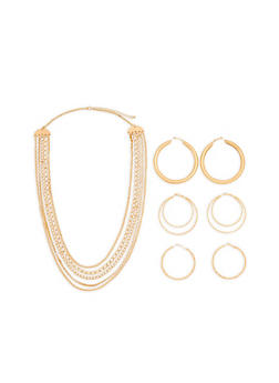 Chain Necklace with Metallic Hoop Earrings - 1123074171713