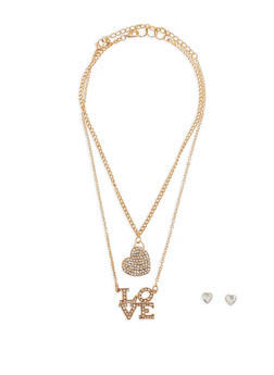 Rhinestone Love and Heart Pendant Necklaces with Stud Earrings - 1123074171716