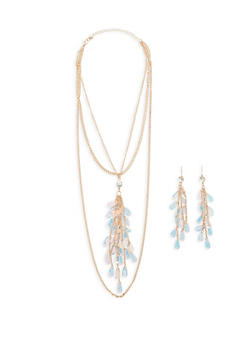 Layered Sequin Fringe Necklace with Earrings - 1123074171727
