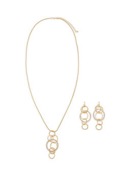 Rhinestone Circle Necklace and Earrings - 1123074179171