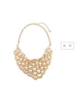 Laser Cut Metallic Collar Necklace with Stud Earrings - 1123074179173
