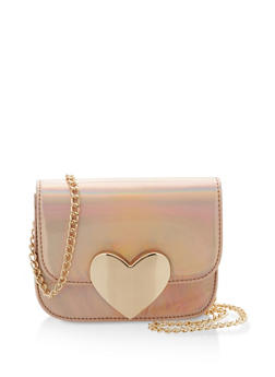 Holographic Crossbody Bag with Metallic Heart Detail - 1124040320137