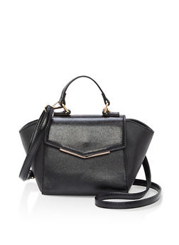 Two Tone Mini Trapeze Faux Leather Bag - 1124040320148