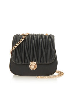 Pleated Crossbody Bag with Chain Strap - 1124040320263