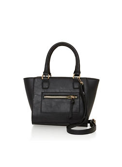 Faux Leather Crossbody Satchel Bag - 1124040320397