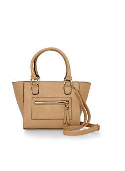 Faux Leather Crossbody Satchel Bag - 1124040320397