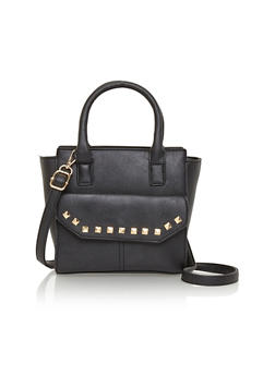 Faux Leather Studded Trim Satchel Handbag - 1124040320400
