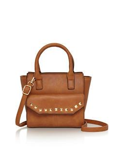 Faux Leather Studded Trim Satchel Handbag - 1124040320400
