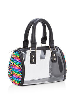 Clear Reversible Sequin Detail Handbag - 1124040320823