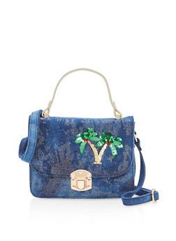 Palm Tree Sequin Shimmer Crossbody Bag - 1124040320917