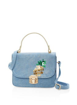 Pineapple Sequin Denim Crossbody Bag - 1124040320919