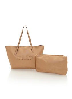 Faux Leather Hello Goodbye Tote with Inner Removable Pouch - 1124040324404