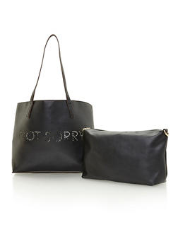 Faux Leather Sorry Not Sorry Tote with Inner Removable Pouch - 1124040324445