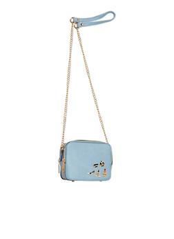 Double Zipper Graphic Pins Crossody Bag - 1124040329144
