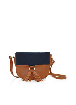 Two Tone Tasseled Crossbody Saddle Bag - 1124040329534