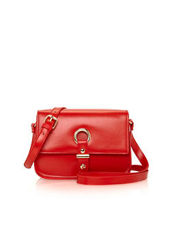 Faux Leather Crossbody Bag with Ring Flap Button Closure - 1124041650147