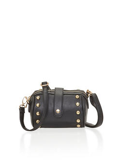 Studded Faux Leather Crossbody Barrel Bag - 1124041651663