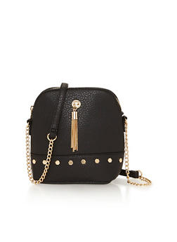 Faux Leather Tassel Studded Crossbody Bag - 1124041651701