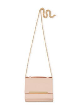 Mini Square Flap Crossbody Purse with Metal Bar Accent - 1124041651727
