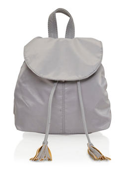 Faux Leather Back Pack with Tassel Drawstring - SILVER/GREY - 1124041651749