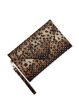 Studded Leopard Print Envelope Clutch - 1124041651754