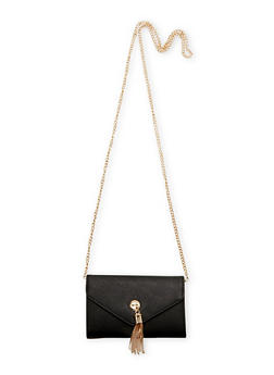 Faux Leather Clutch with Tassel - BLACK - 1124041656707