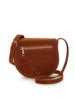 Faux Suede Saddle Bag with Zipper Trim - 1124041657507