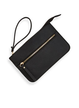 Leather Zip Clutch with Wrist Strap - 1124060140083